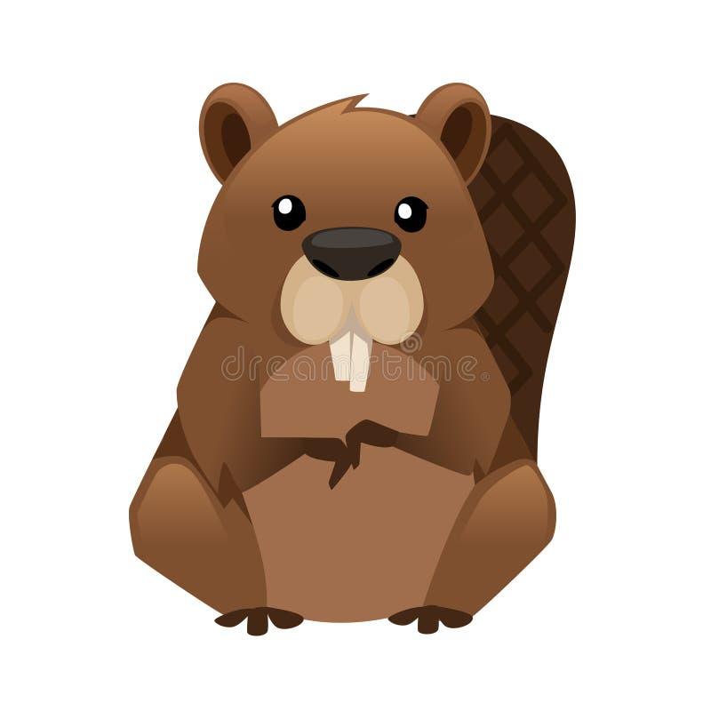 Castor lindo de Brown Dise?o animal de la historieta Ejemplo plano aislado en el fondo blanco Habitante del bosque Animal salvaje ilustración del vector