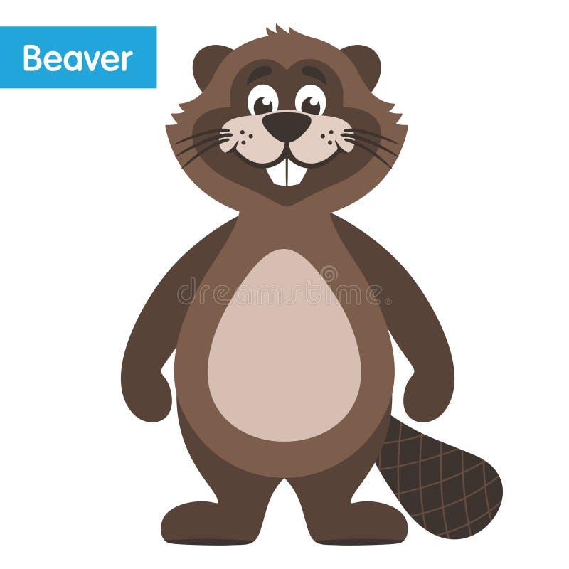 Castor marrón feliz ilustración del vector