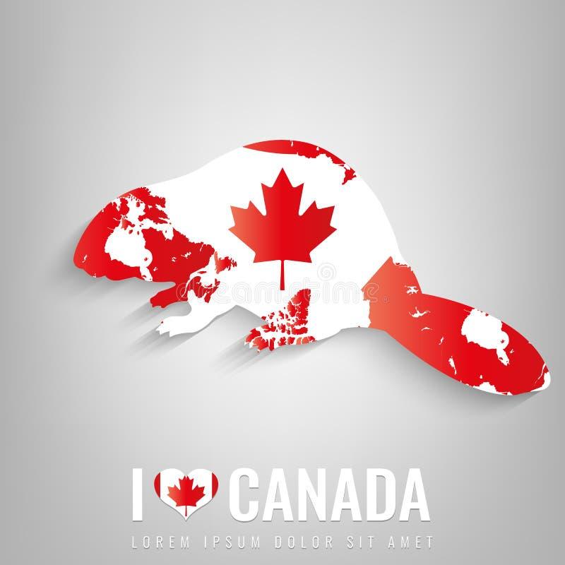 Castor nacional do símbolo de Canadá com uma silhueta oficial da bandeira e do mapa America do Norte Vetor ilustração royalty free