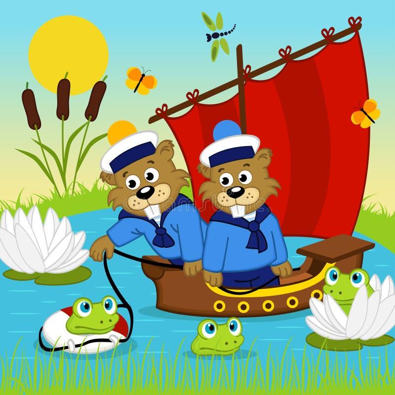 Castor no navio ilustração do vetor