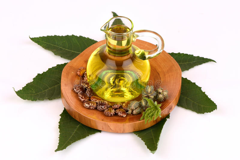 Castor oil bottle with castor fruits, seeds and leaf. stock photo