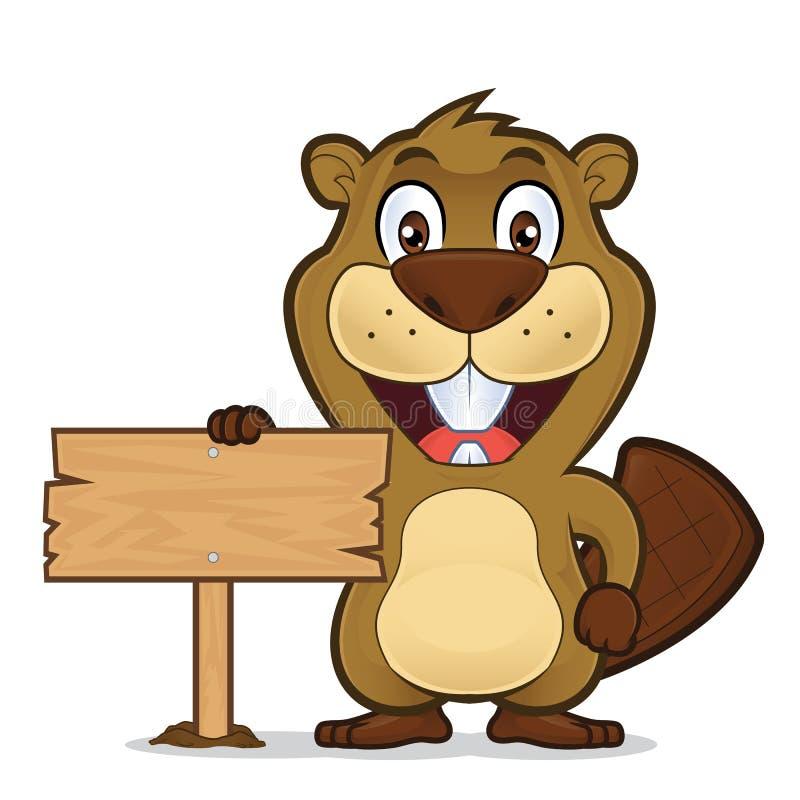 Castor que guarda um sinal de madeira ilustração royalty free