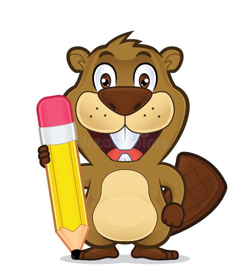 Castor que sostiene un lápiz libre illustration