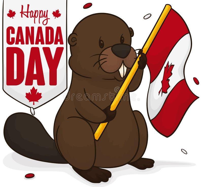 Castor que sostiene una bandera debajo de la ducha del confeti para el día de Canadá, ejemplo del vector ilustración del vector