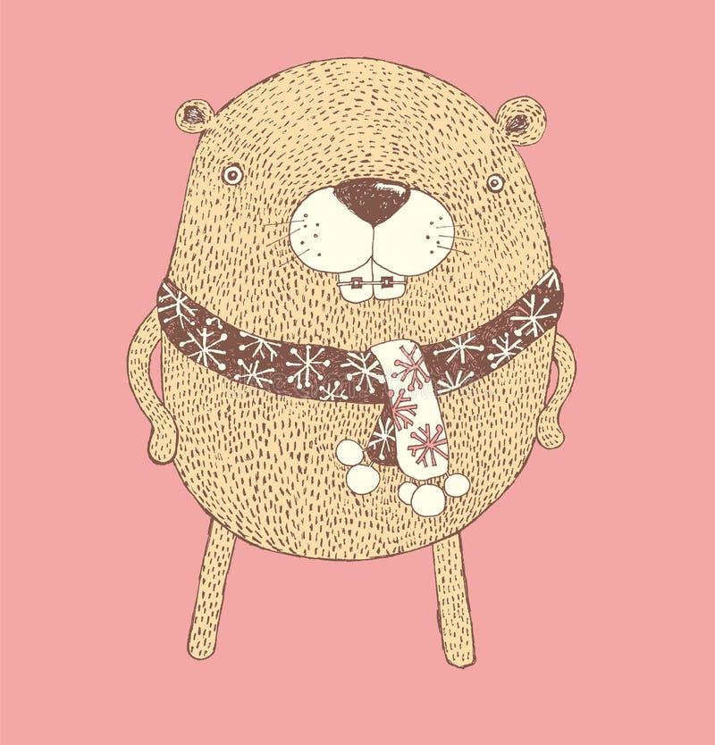 Castor rechoncho, personajes de dibujos animados, vector de los animales lindos del bosque, vector stock de ilustración