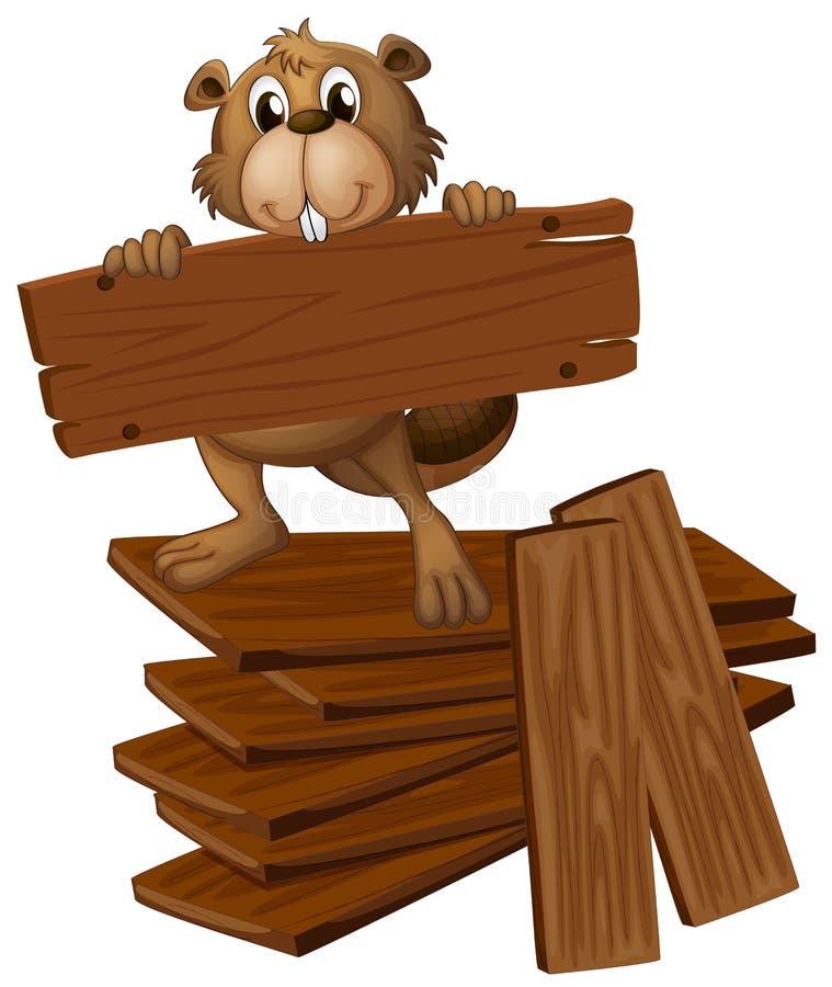 Castor y pila de maderas contrachapadas stock de ilustración