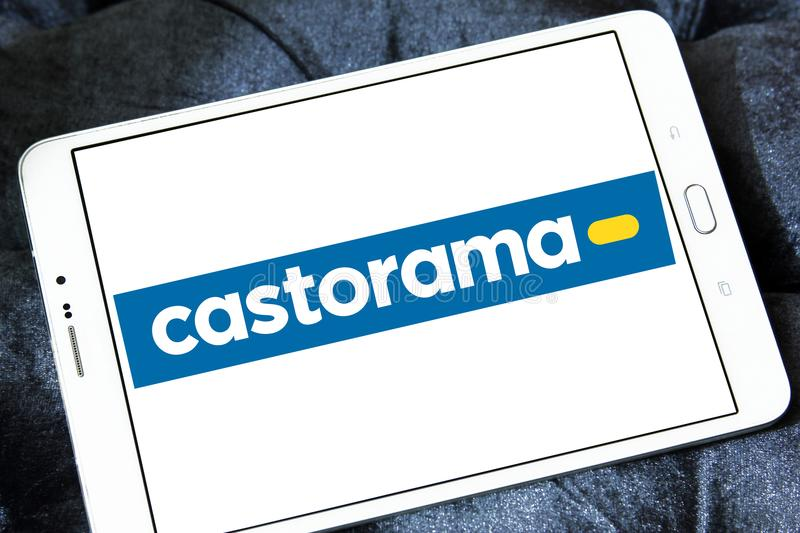 Castorama retailer logo. Logo of Castorama retailer on samsung tablet. Castorama is a French retailer of DIY and home improvement tools and supplies, part of the royalty free stock photography