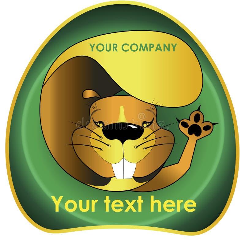 Castoro allegro per il logo del castoro di logo illustrazione di stock