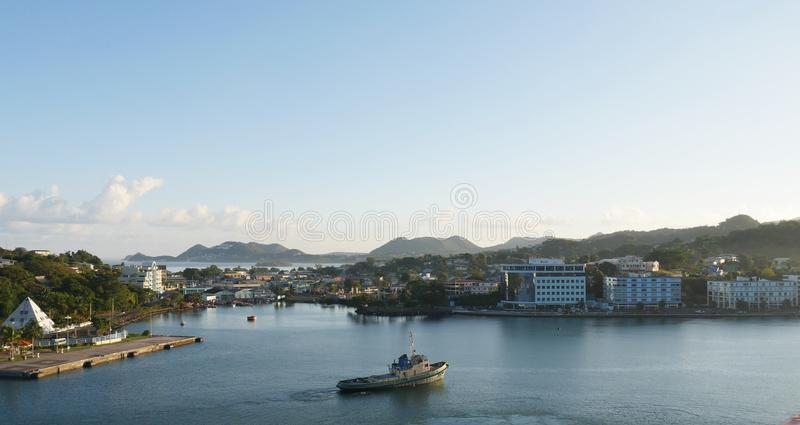 Castries, St. Lucia waterfront stock image