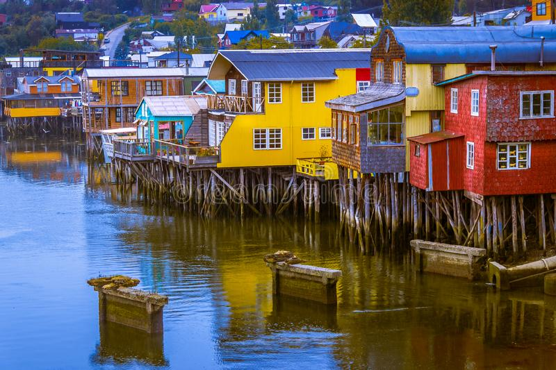 Castro, Chiloe Island, Chile - Evening View of the Colorful Stilt Houses stock images