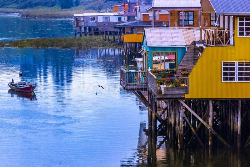 Castro, Chiloe Island, Chile - View of Stilt Houses stock photos
