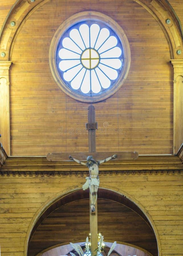 Castro Church Interior View, Chiloe, Chile imagenes de archivo