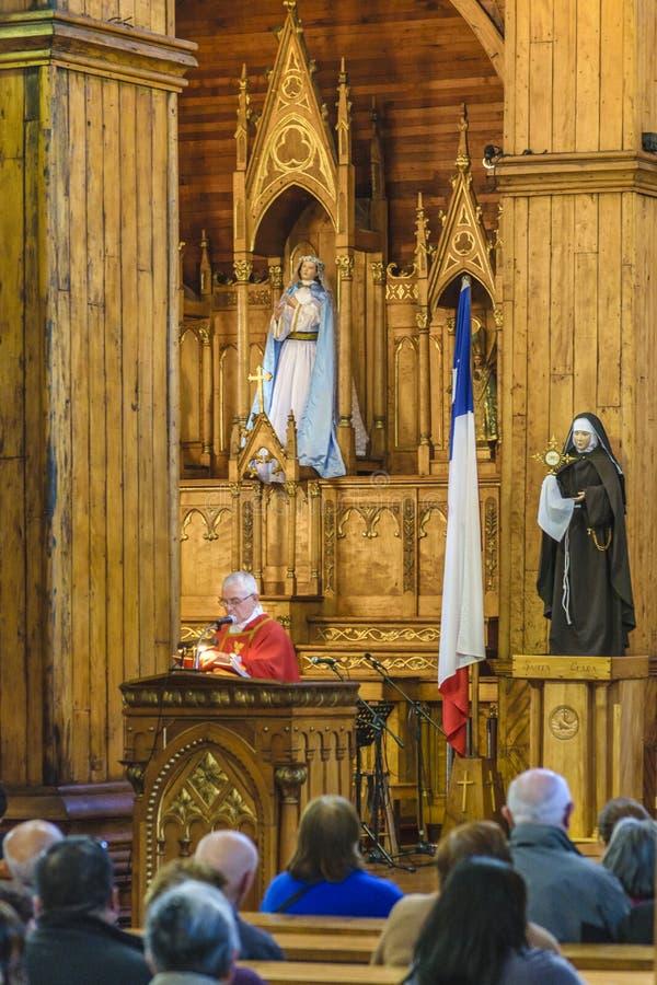Castro Church Interior View, Chiloe, Chile imágenes de archivo libres de regalías