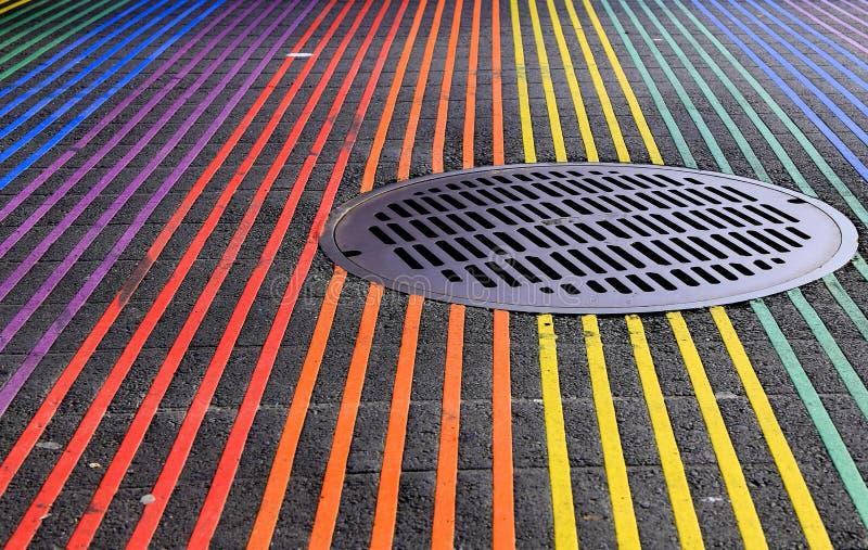 Castro District Rainbow Colored Crosswalk Intersection, San Francisco, California royalty free stock photography