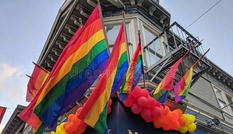 Castro District Rainbow Colored Flag, San Francisco, California immagine stock