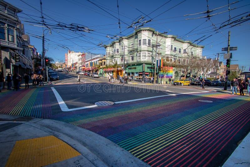 Castro District Rainbow Crosswalk Intersection - San Francisco, California, USA. SAN FRANCISCO, USA - December 29, 2016: Castro District Rainbow Crosswalk stock photography