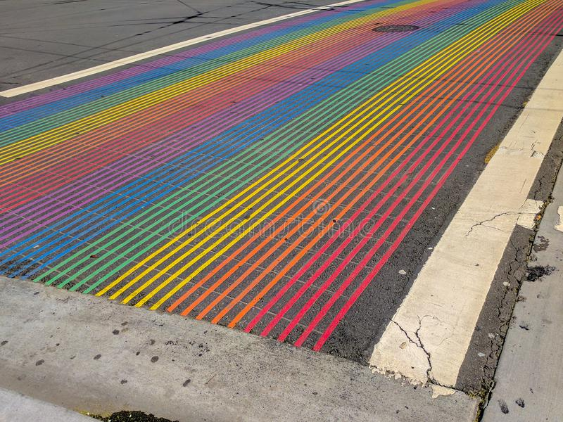 Rainbow Intersection, Castro District, San Francisco, California. Castro District Rainbow Crosswalk at the Intersection of Castro and 18th streets in San stock photos