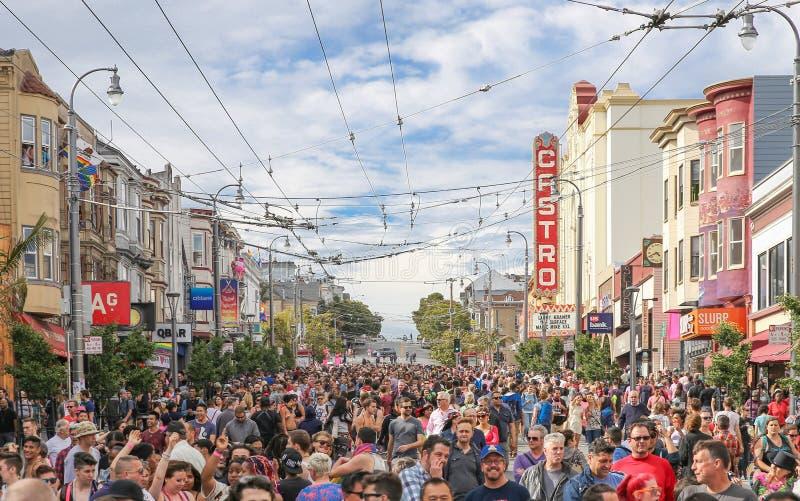 Castro District Rainbow Flags royaltyfri bild