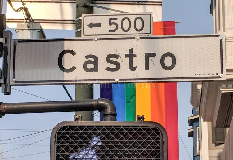 Castro District Rainbow Flags images stock