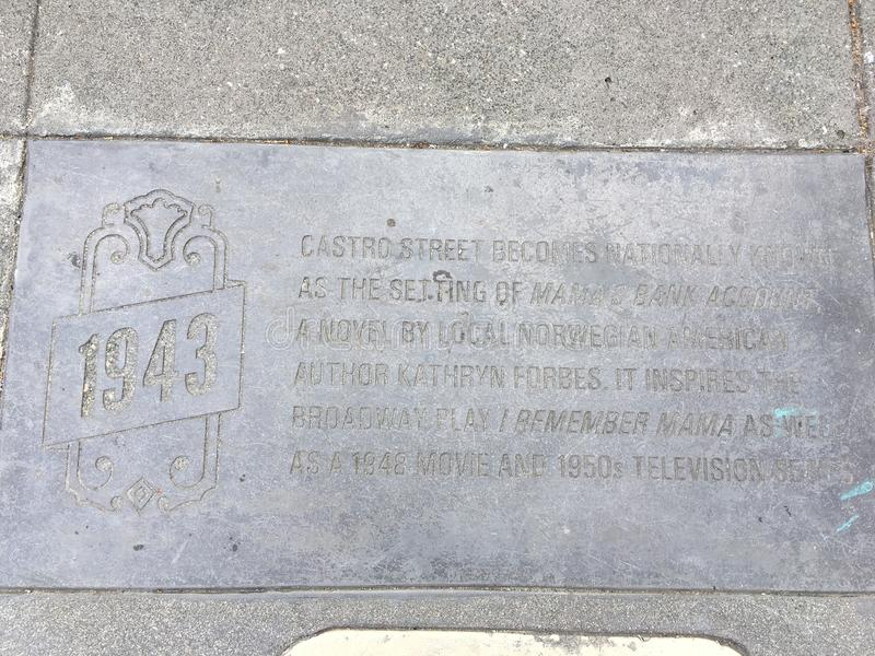 Castro Street Timeline Marker, 1943 fotografía de archivo