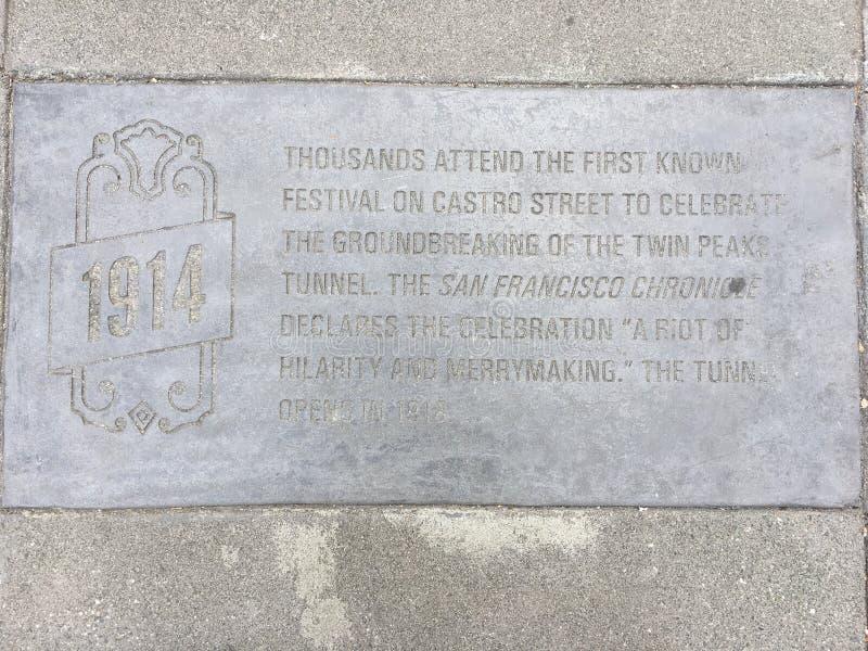 Castro Street Timeline Marker, 1914 imágenes de archivo libres de regalías