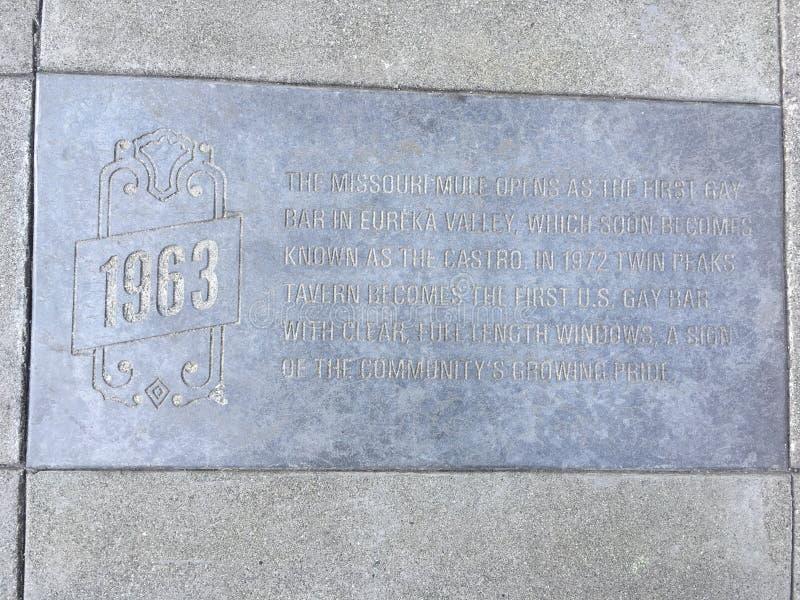 Castro Street Timeline Marker, 1963 foto de archivo libre de regalías