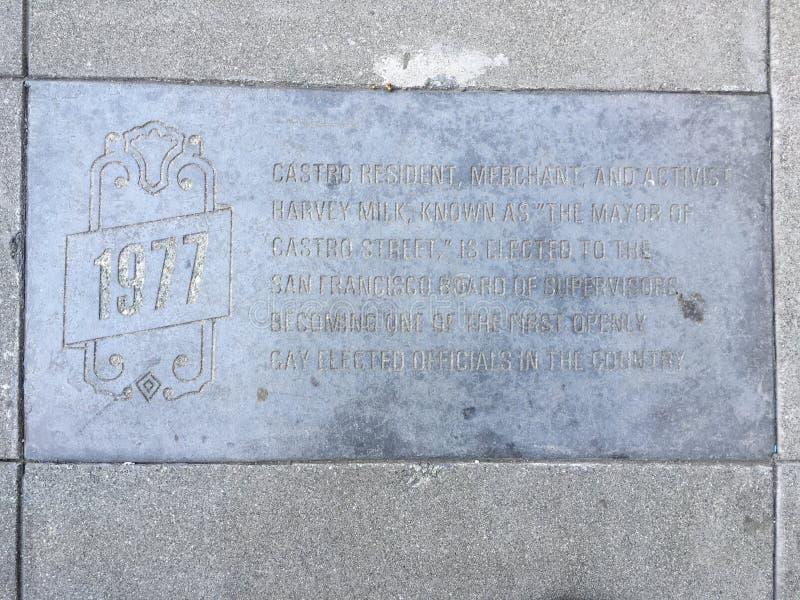 Castro Street Timeline Marker, 1977 fotos de archivo