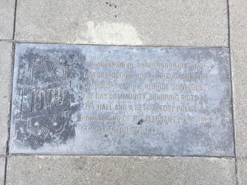 Castro Street Timeline Marker, 1981 fotos de archivo