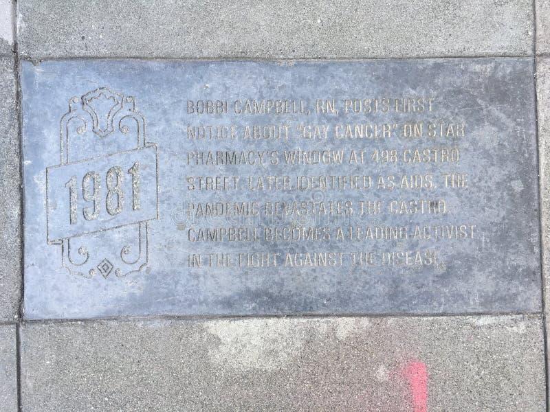 Castro Street Timeline Marker 1981 arkivbilder