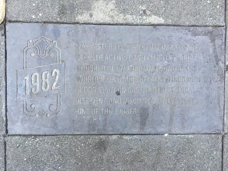 Castro Street Timeline Marker 1982 royaltyfria bilder