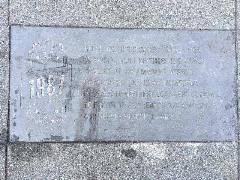 Castro Street Timeline Marker 1987 fotografering för bildbyråer