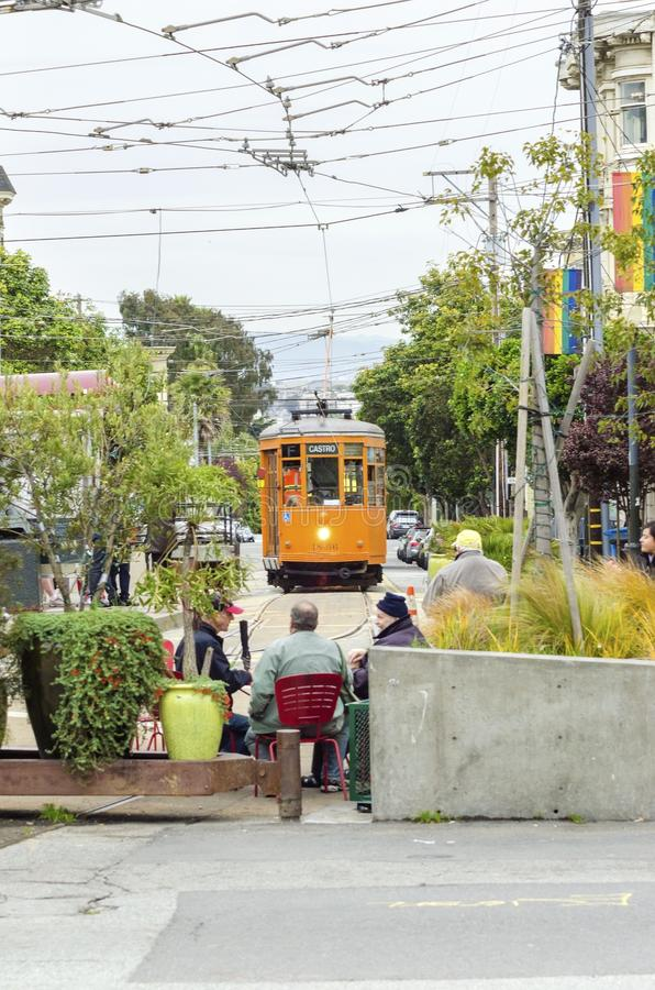 Castro Trolley, San Francisco. The historic orange trolley leading to the Castro neighborhood in San Francisco, California, United States of America. The F line stock photo