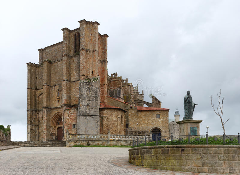 Castro Urdiales. Church. Overview of the Church of St. Mary in Castro Urdiales, Cantabria, Spain stock image
