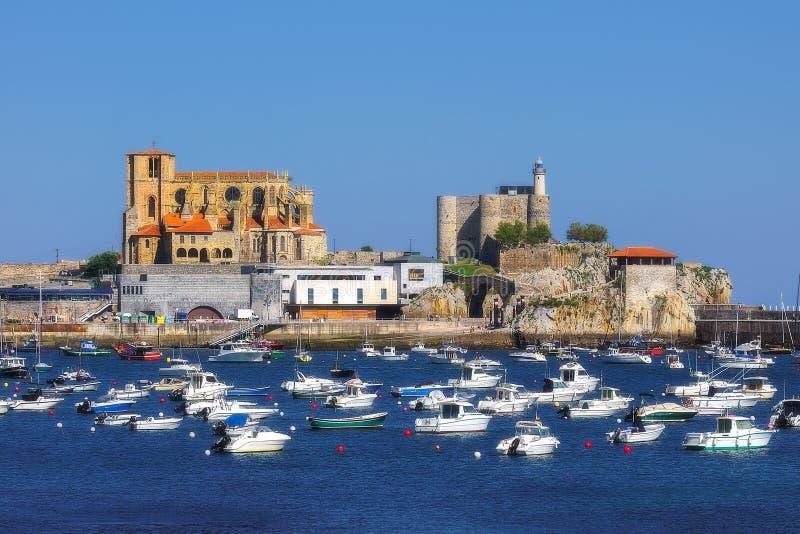 Castro Urdiales port. In Cantabria, Spain stock photos