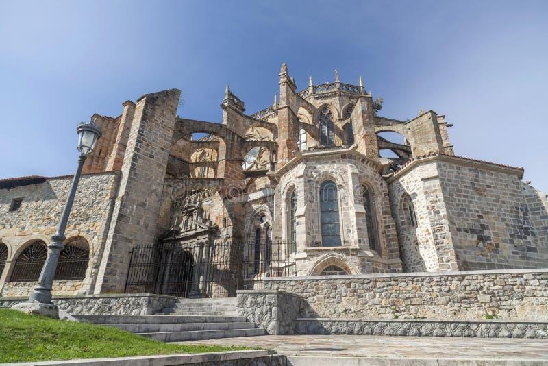 Castro Urdiales, Spain. Church Santa Maria de la Asuncion, gothic style, Castro-Urdiales,Cantabria, Spain stock photo