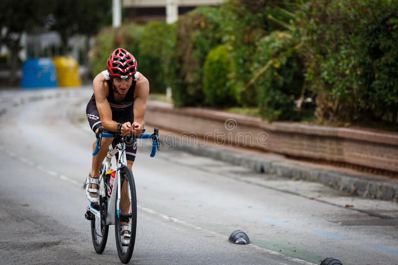 CASTRO URDIALES, SPAIN - SEPTEMBER 17: Unidentified triathlete in the cycling competition celebrated in the triathlon of Castro Ur. Diales in September 17, 2016 stock image