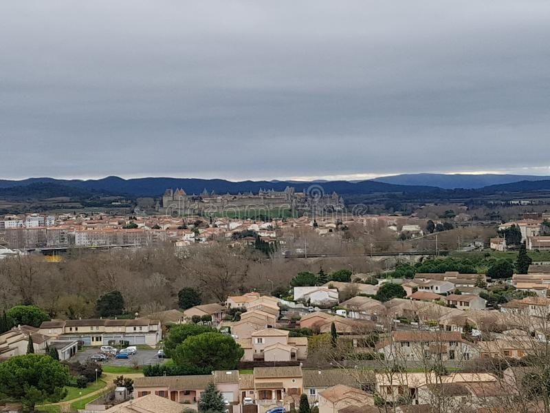 Casttle von Carcassonne, Francia lizenzfreies stockbild