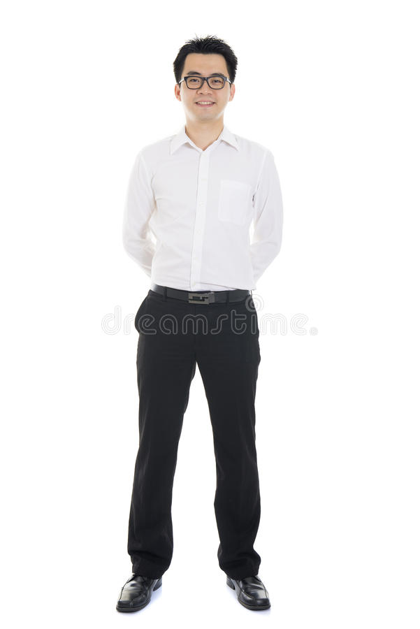 Casual asian business man white isolated background stock photography