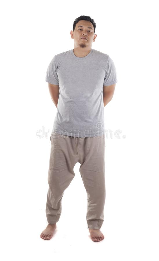 Casual Bare Foot Asian Man Standing royalty free stock photos