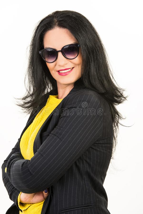 Casual beauty woman with sunglasses stock photos