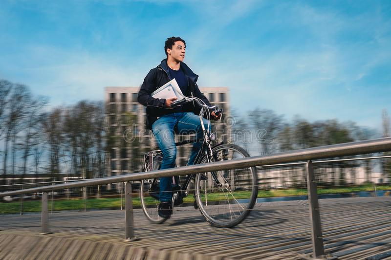 Casual bike messenger royalty free stock photos