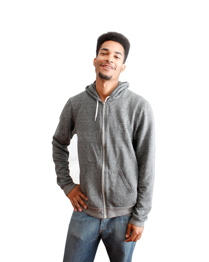 Casual black guy. On a white bg royalty free stock photography