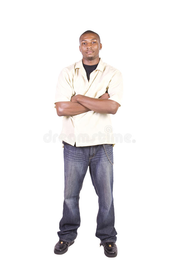 Casual Black Man With A Jacket Posing Royalty Free Stock Photography