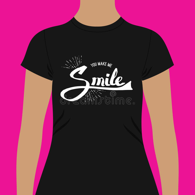Casual Black Shirt with You Make me Smile Texts royalty free illustration