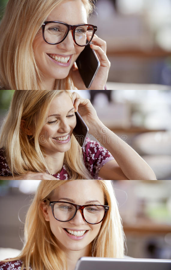 Casual blonde woman set,businesswoman talking by smartphone and using tablet to browse internet.Technology use portrait royalty free stock images