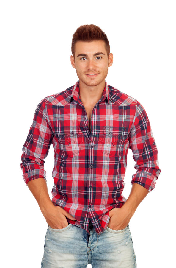 Casual Boy With Plaid Shirt Royalty Free Stock Photos