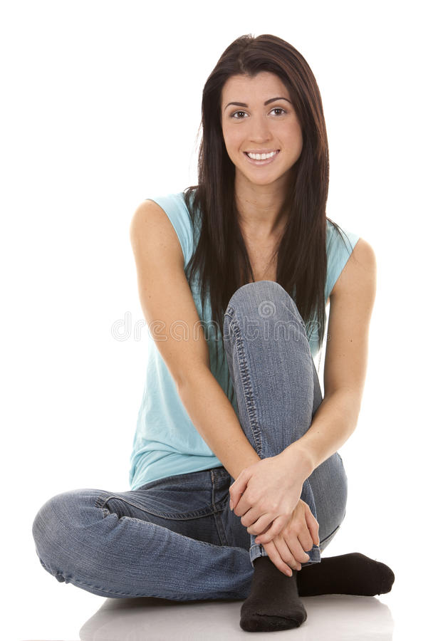 Download Casual brunette stock image. Image of jeans, friendly - 28021039