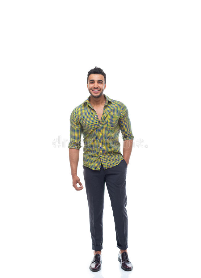 Casual business man happy smile young handsome guy full length stock photos