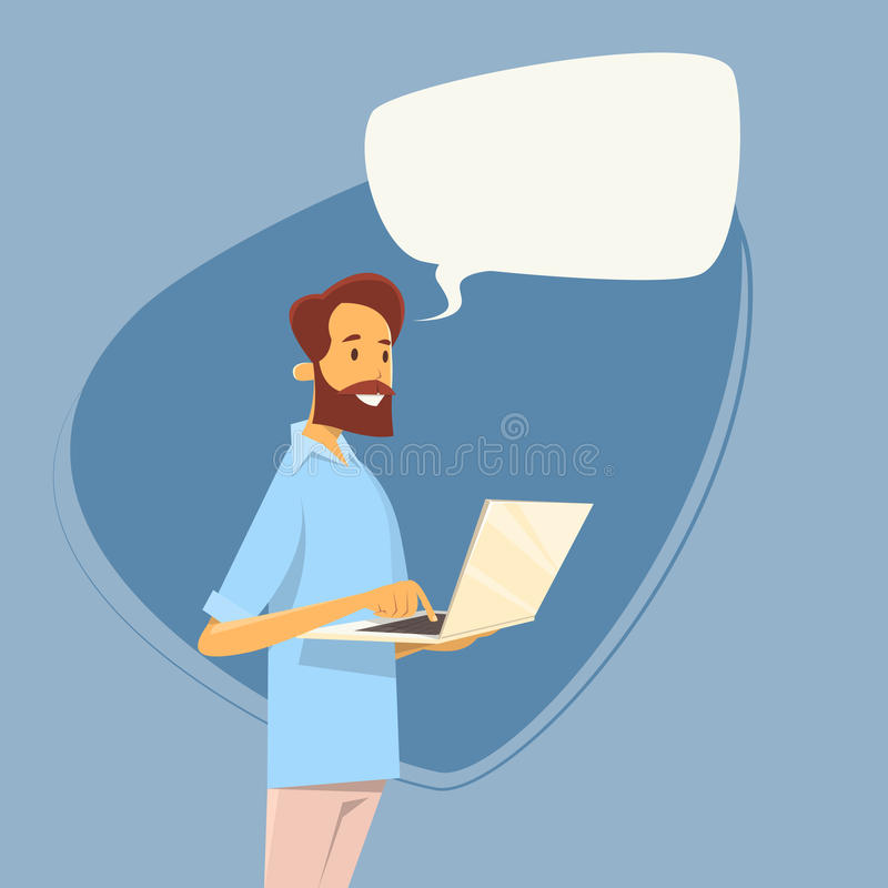 Casual Business Man Using Laptop Computer Send Message Internet Texting Chat Communication royalty free illustration
