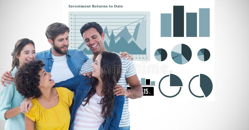 Casual business people with arms around against graphs stock photography